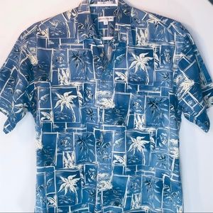 Vtg Pierre Cardin Hawaiian Shirt Palm Trees Mens L
